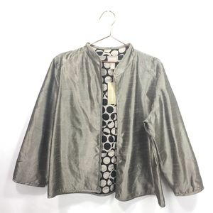 Chicos 2 Large Blazer Silver Open Front Reversible